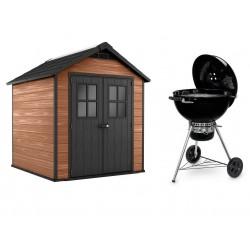 Keter Casetta in Resina NEWTON WOODSHIELD 757 + Barbecue Weber Master Touch E-5750