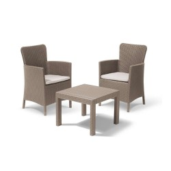 Keter Set 2 Poltrone + Tavolino Aperto SALVADOR BALCONY Cappuccino