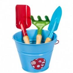 Stocker Set attrezzi e secchiello azzurro KIDS GARDEN