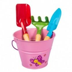 Stocker Set attrezzi e secchiello rosa KIDS GARDEN