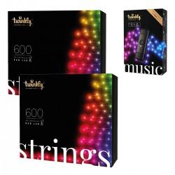 Twinkly STRINGS Luci di Natale Smart 1200 Led RGB II Generazione + Music Dongle Omaggio