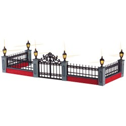 Lighted Wrought Iron Fence Set/5 B/O (4.5V) Cod. 54303