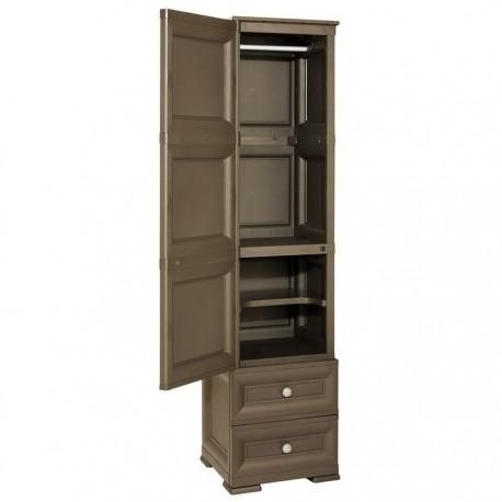Armadio in resina con anta stampa legno 2 cassetti 1 for Amazon armadi legno