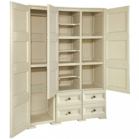 Armadio in resina con anta stampa legno con cassetti for Liquidazione mobili