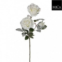 Rosa Bianca Innevata Artificiale 76 cm