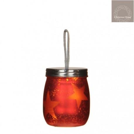 Vasetto Rosso da appendere con luce a Led
