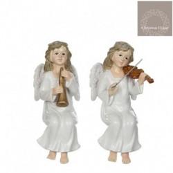 Angeli Seduti Con Violino In Ceramica. Pezzo Singolo