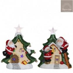 Casetta Di Babbo Natale In Ceramica Luminosa. Pezzo Singolo