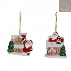 Casetta Di Babbo Natale In Ceramica. Pezzo Singolo