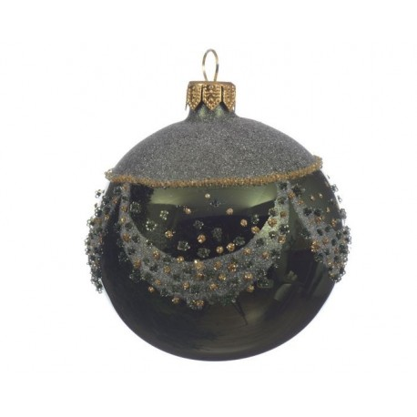 Pallina di Natale con Decoro in Vetro Dim. 8 cm