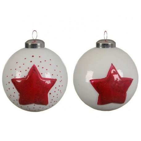 Pallina di Natale con Decoro Stella in Vetro Dim. 8x8.5 cm. Pezzo Singolo