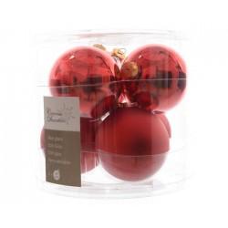 Palline di Natale da Appendere in Vetro 8 cm Rosso Natale. Set di 6