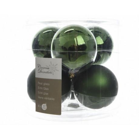 Palline di Natale da Appendere in Vetro 8 cm Verde. Set di 6