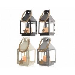 Lanterna con Candela Led Dim. 12x12x25 cm. Pezzo Singolo