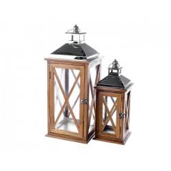 Lanterna Legno Scuro Grande Dim. 22x22x54 cm. Pezzo Singolo