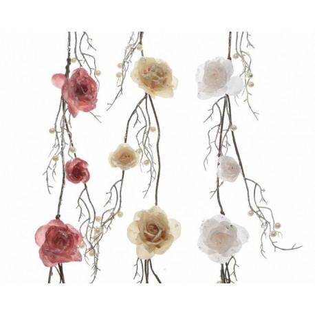 Ghirlanda con Rose Dim. 10x120 cm. Pezzo Singolo