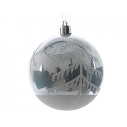 Pallina di Natalete decorata Blu ghiaccio diam 8 cm