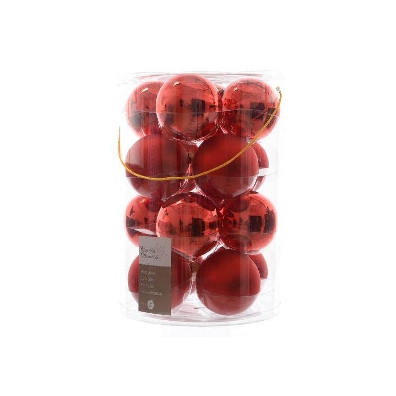 Palline di natale da appendere in vetro 8 cm rosso natale for Lampadario palline vetro