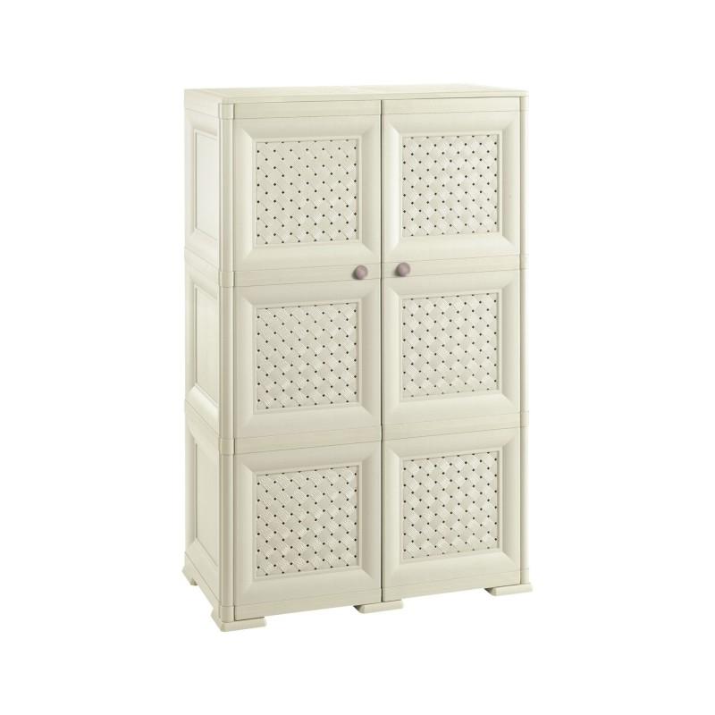 armadio in resina 3 moduli con 2 ante stampa traforata. Black Bedroom Furniture Sets. Home Design Ideas