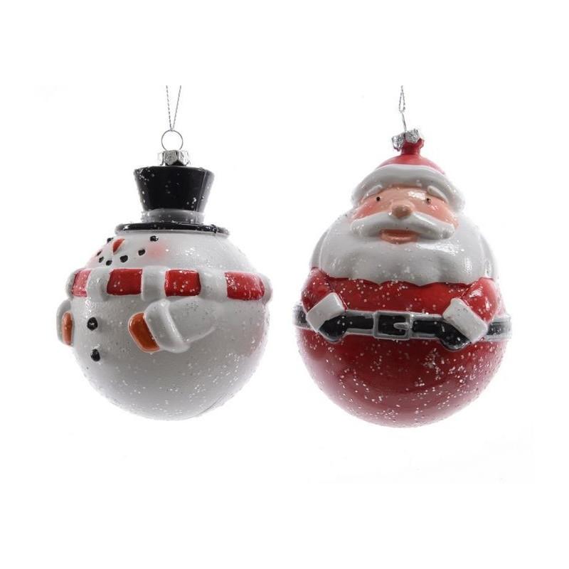 Palline Natale.Palline A Forma Di Babbo Natale O Di Pupazzo Di Neve Pezzo Singolo