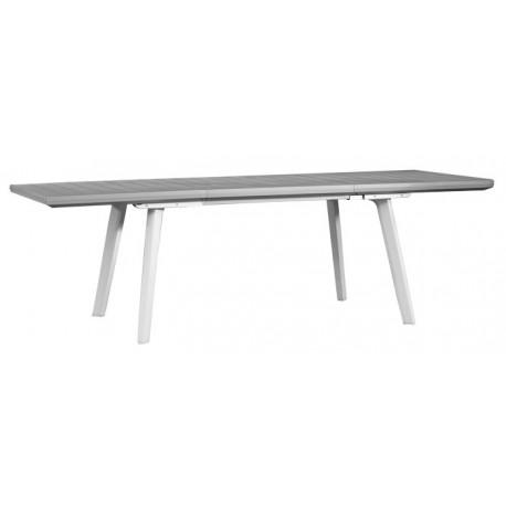Keter Table Télescopique HARMONY Graphite/Blanc et 6 Chaises avec  Accoudoirs HARMONY Graphite/Blanc