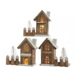 Light-Up LED Wooden House 15 cm (1 Unit)