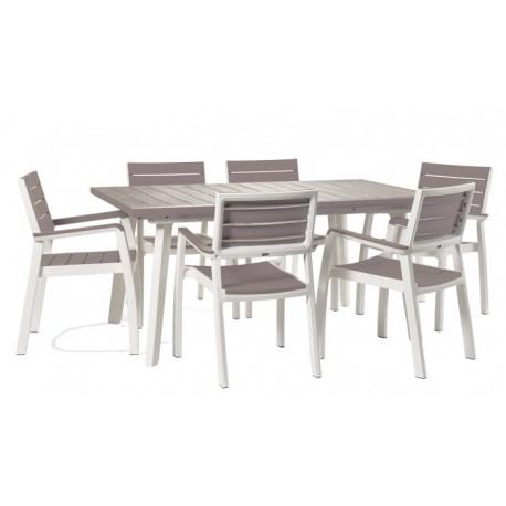 Tavolo Allungabile E 6 Sedie.Keter Tavolo Harmony Allungabile Grafite Bianco E 6 Sedie Con