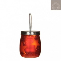 Lighted LED Red Mason Jar