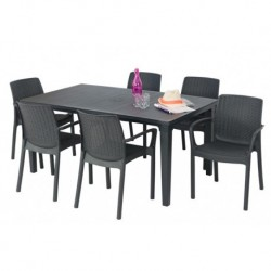 Keter Table FUTURA Graphite et 6 Chaises avec Accoudoirs BALI Graphite